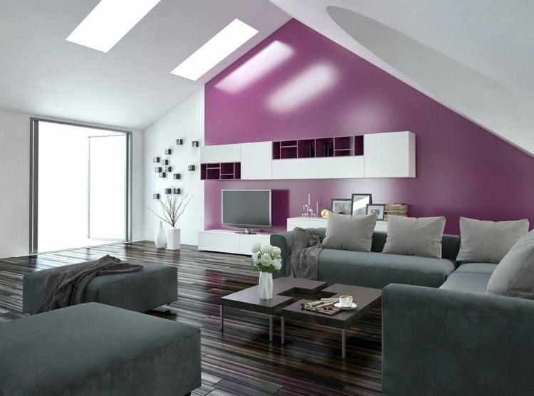 Wohnung Einrichten   Modernes Wohnzimmer Mit Pinker Akzentwand