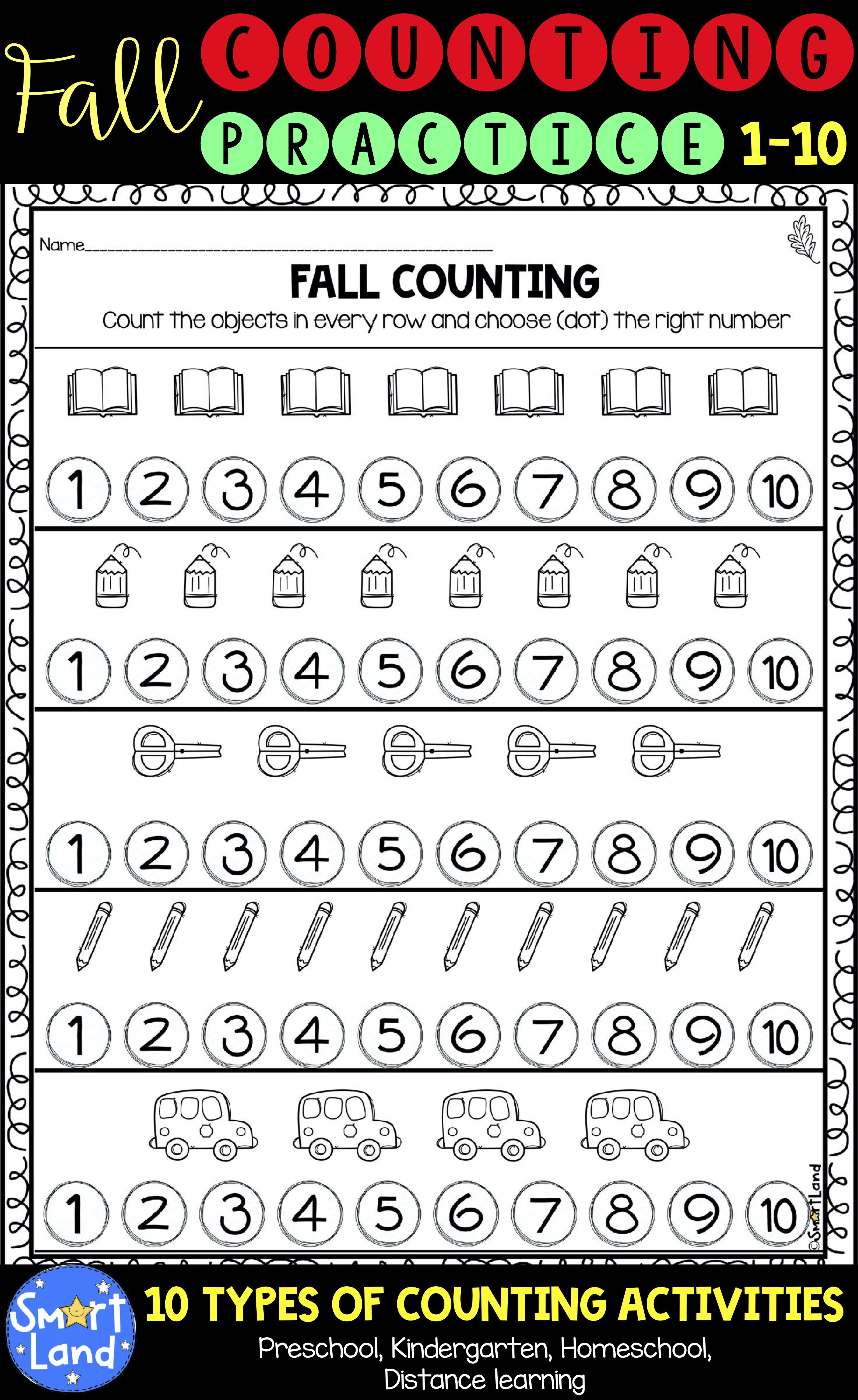 Fall Counting Practice Numbers 1 10 Distance Learning Pre Writing Practice Writing Numbers Preschool Math Worksheets [ 5000 x 3062 Pixel ]