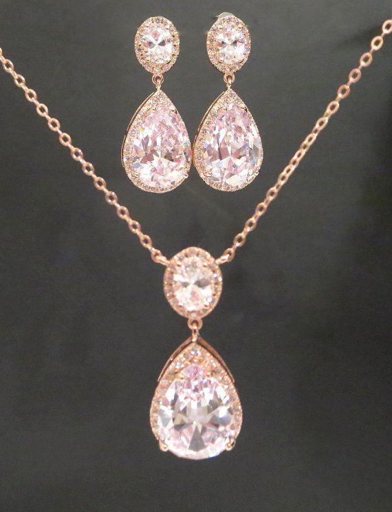 Rose Gold Hochzeit Schmuck SET Rose Gold Halskette von treasures570 ... 3902c9f18