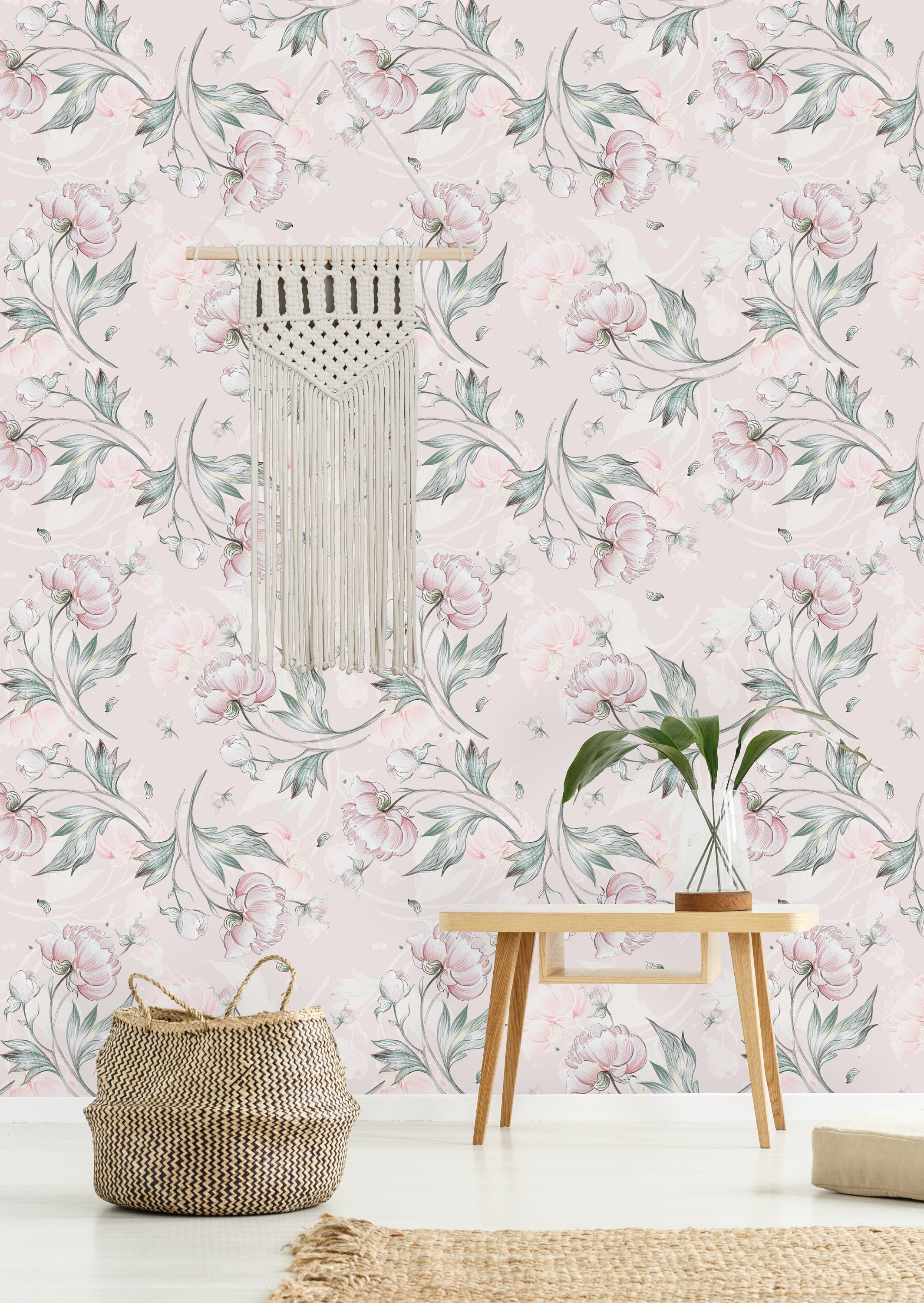 Peony Pattern with Buds Removable WallpaperPeel and Stick