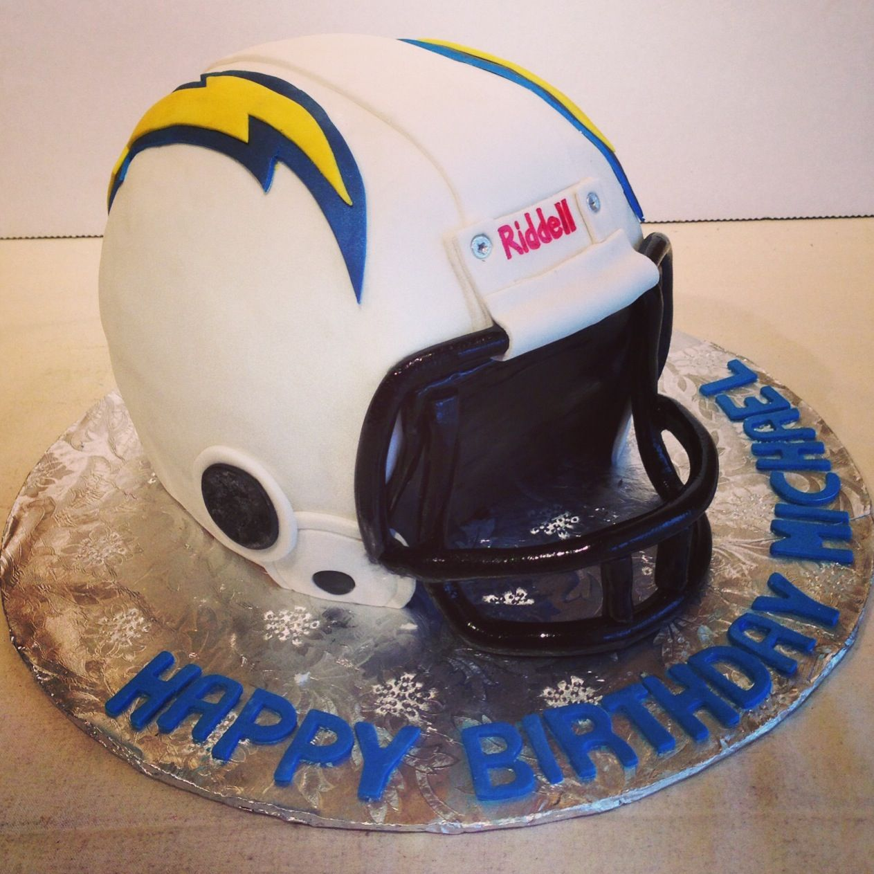 San Diego Chargers Cake: San Diego Chargers Helmet Cake.