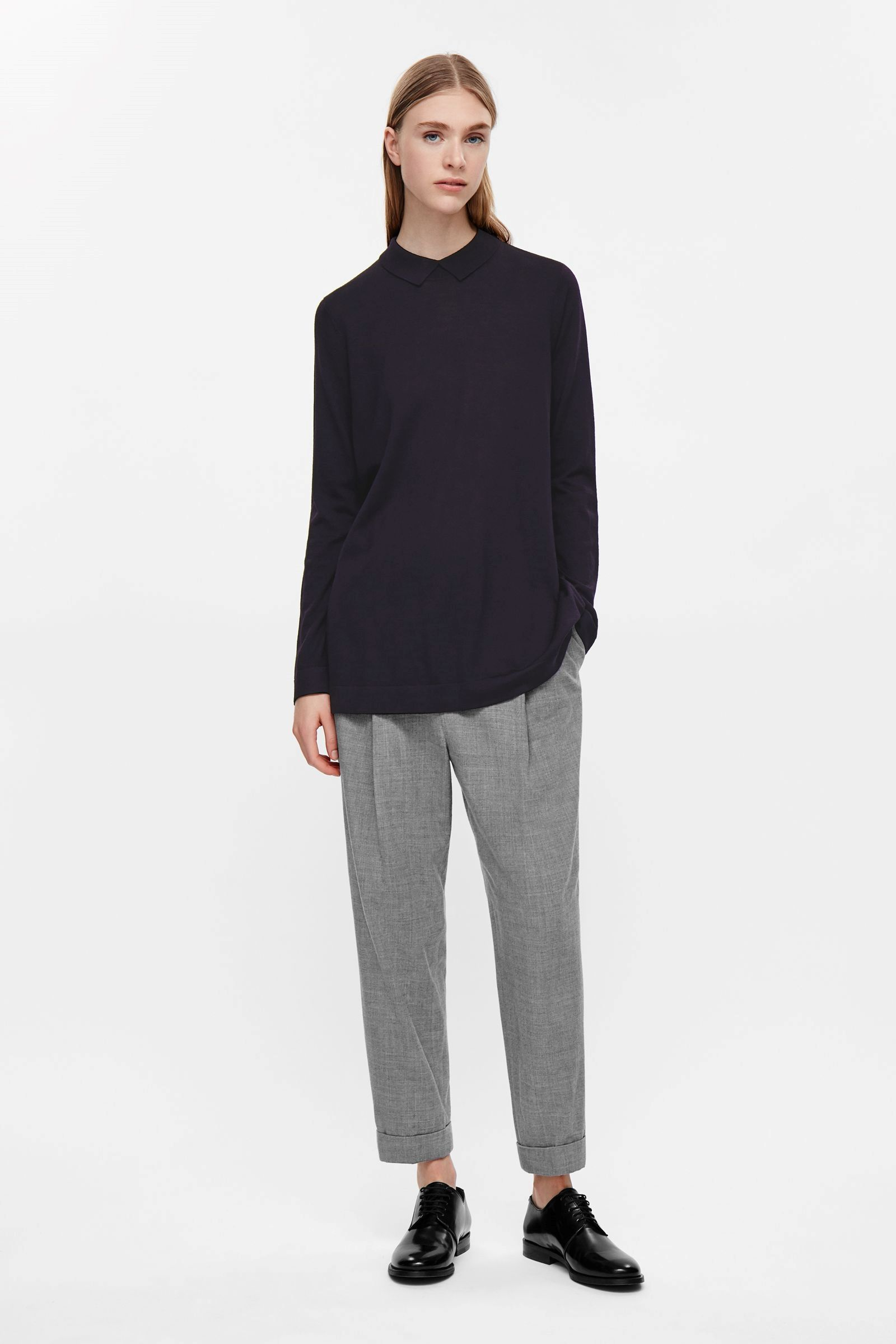 COS image 4 of Ribbed collar tunic in Navy in 2019