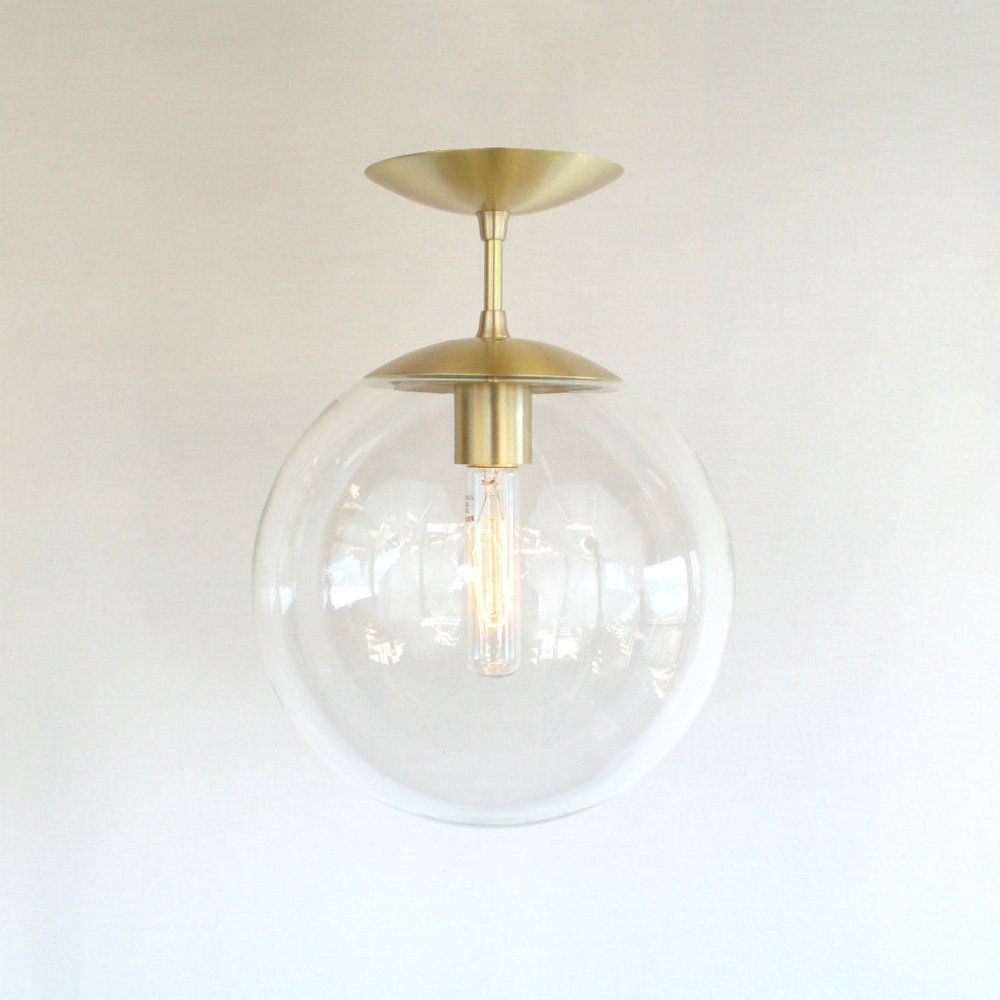 Modern Mid Century Semi Flush Clear Globe Pendant Light The Orbiter 10