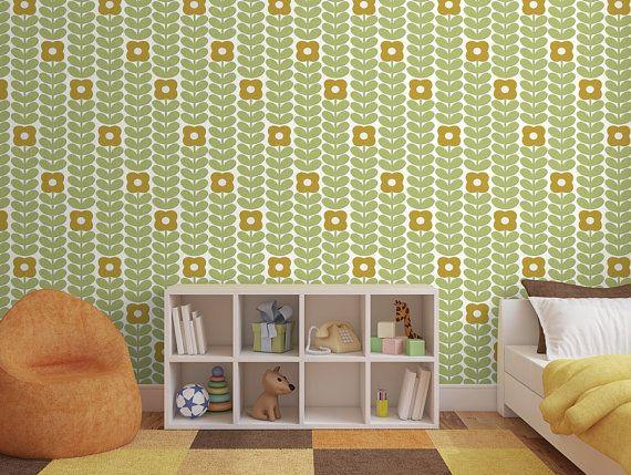 Removable Peel And Stick Wallpaper Green Modern Minimalistic Etsy Peel And Stick Wallpaper Vinyl Wallpaper Basket Weaving