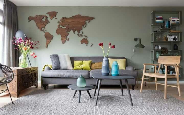 Woonkamer Met Wereldkaart : Houten wereldkaart accessoires huis woonkamer