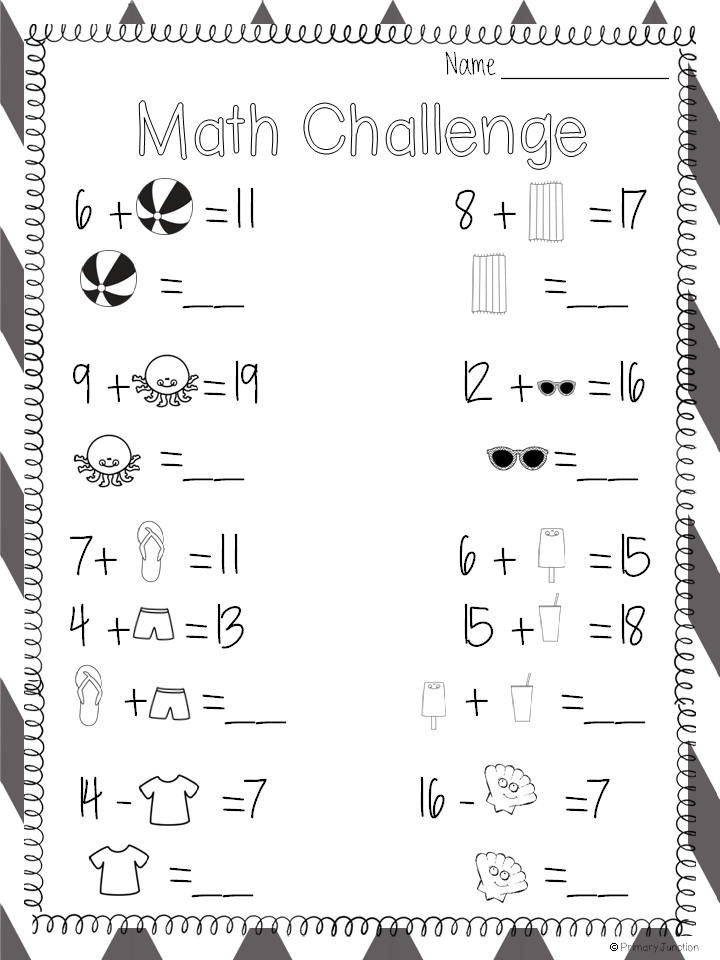Freebie Summerthemed Missing Addend and Minuend Worksheet – Math Worksheets for Primary 1