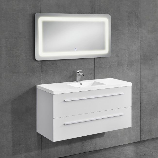 Badmöbelset bestehend aus Waschtisch Flat 96cm