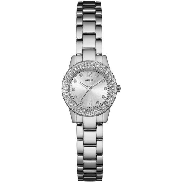 Guess Women's Dixie Stainless Steel Bracelet Watch 30mm U0889L1 (€85) ❤ liked on Polyvore featuring jewelry, watches, silver, stainless steel watch bracelet, guess jewelry, stainless steel jewellery, watch bracelet and guess wrist watch