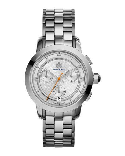 TORY BURCH 37MM TORY STAINLESS CHRONOGRAPH BRACELET WATCH. #toryburch #