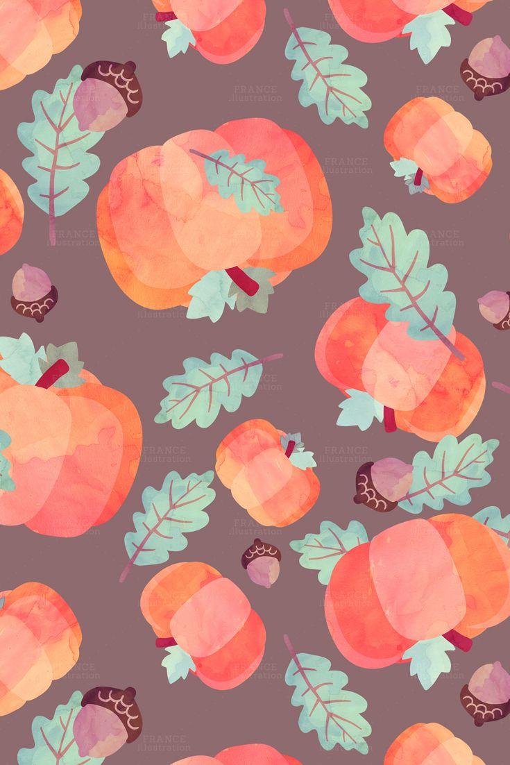 3 For 2 Fall Autumn Digital Papers Thanksgiving Watercolor Pumpkin Squirrel Cupcake Acorn Leaves Leaf Turkey Polka Dots Pattern Cute Fall Wallpaper Fall Wallpaper Fall Background