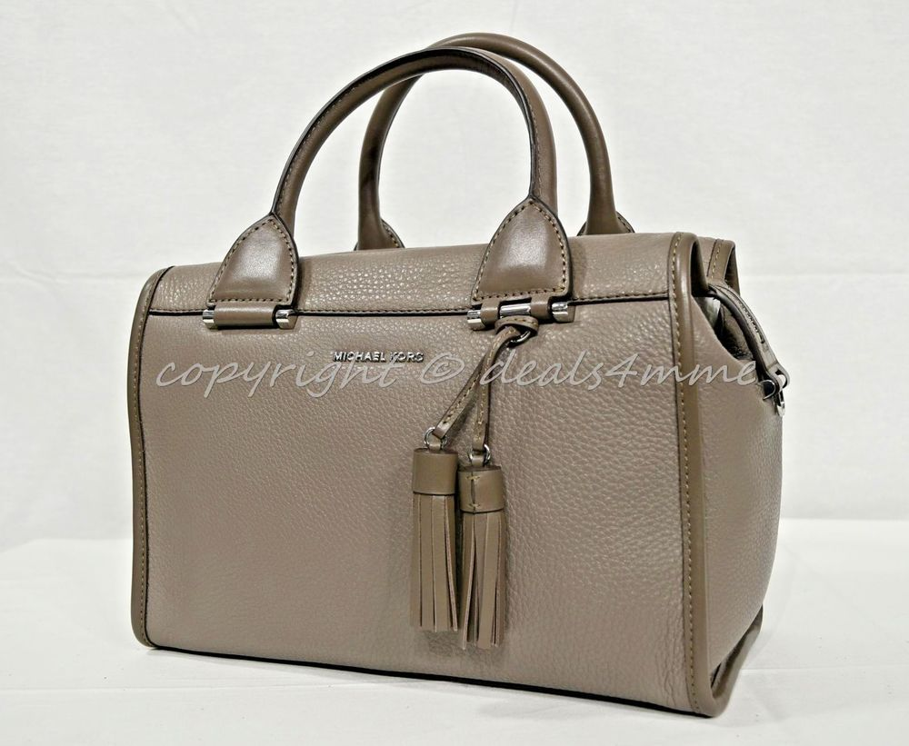 abdc0c922ba0 NWT Michael Kors Geneva Large Leather Satchel/Shoulder Bag in Cinder - Gray  #MichaelKors #SatchelCrossbodyBag
