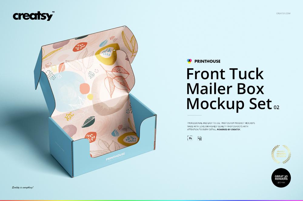 Download Front Tuck Mailer Box Mockup Set 02 On Behance In 2020 Mailer Box Box Mockup Front Tuck