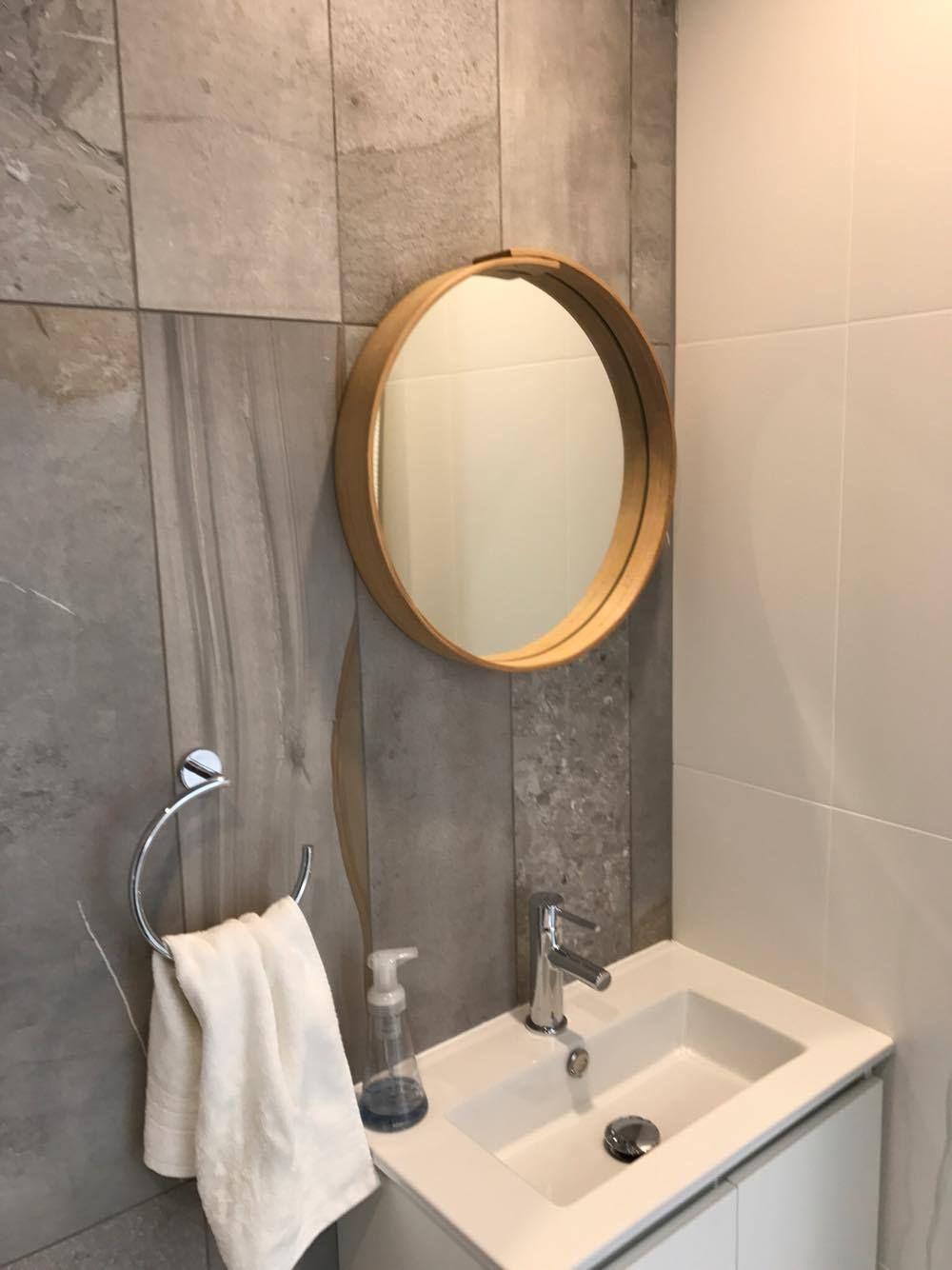 Round Mirror Wall Mirror Oak Or Walnut Wood Etsy Wood Mirror Bathroom Bathroom Mirror Mirror Wall Bathroom