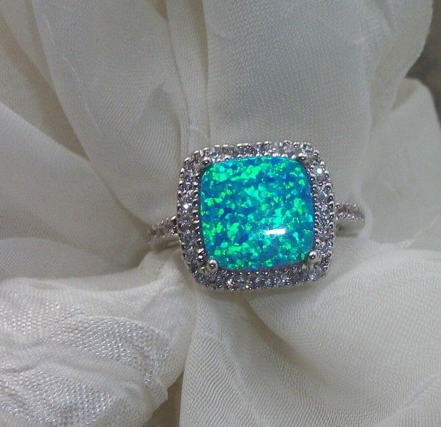 Stunning Sterling Silver Australian Opal Cz Ring Size 8 Opal Jewelry Jewelry Pretty Jewellery