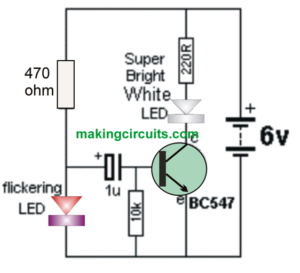A Very Simple Strobe Light Circuit Can Be Built Using A Single Transistor And A High Bright White Led In Conjunction Wit Strobe Lights Simple Circuit Strobing
