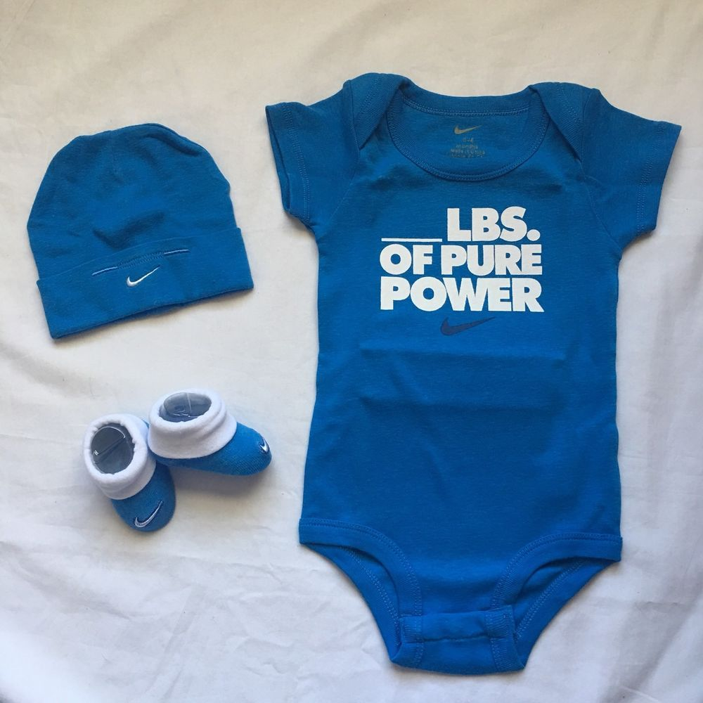 b361127a8 3 Piece Nike Gift Set 0-6 Mo Baby Shower Bodysuit Hat Booties Blue Pure  Power #Nike #babyboy #babyboyoutfits #babygifts #babygiftideas
