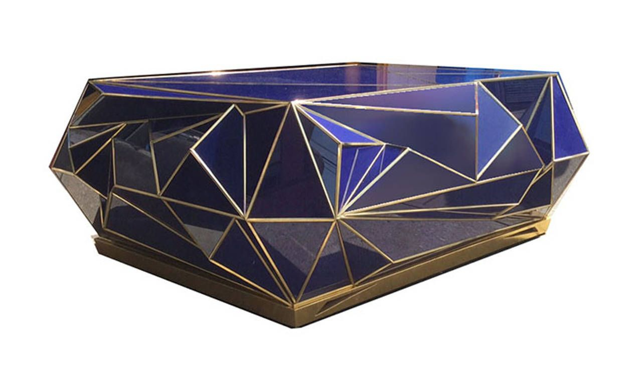 Antique Brass Glass Coffee Table Contemporary Brass Trimmed Cobalt Glass Geometric Coffee Table