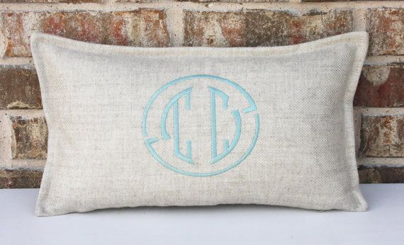 Initial monogram pillow cover / 10x18 size / by myvintagemonkey, $54.00