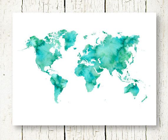 large world map turquoise watercolor printable boys nursery girls room living room wall art decor digital print instant download pdf jpg