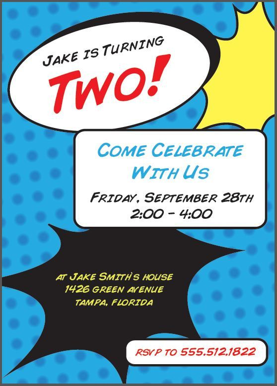 Custom Superhero Birthday Party Invitation (Printable)