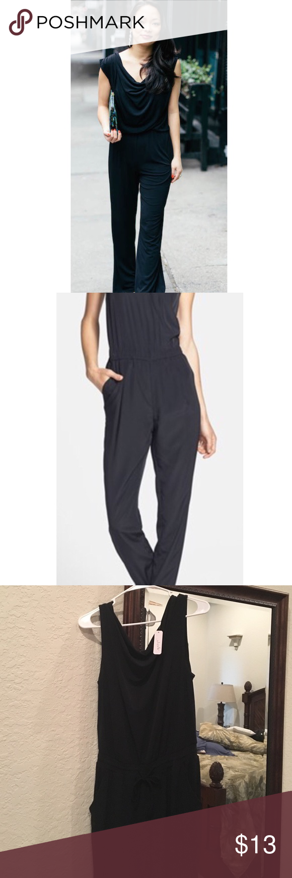 Black Jumpsuit NWT Black satiny material never worn jumpsuit with elastic cinched drawstring waist. Perfect for the holiday season with heels or nice flats! Pair this with my tiled bag I have listed for a complete look. 😍 Charming Charlie Pants Jumpsuits & Rompers