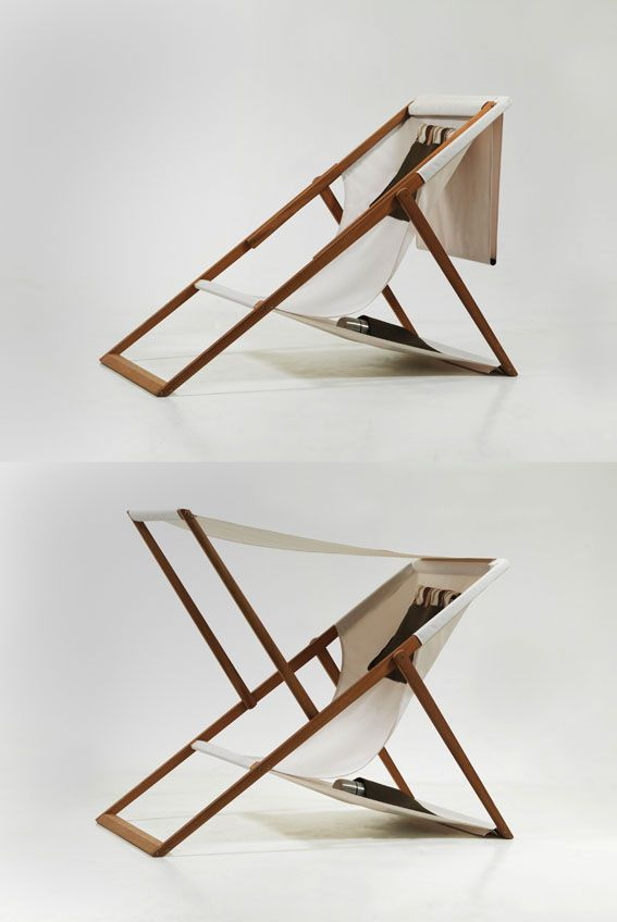 XZ Deck Chair by Numen, a Croatian-Austrian design collective studio: A traditional deck-chair that is extended with a removable sunshade.