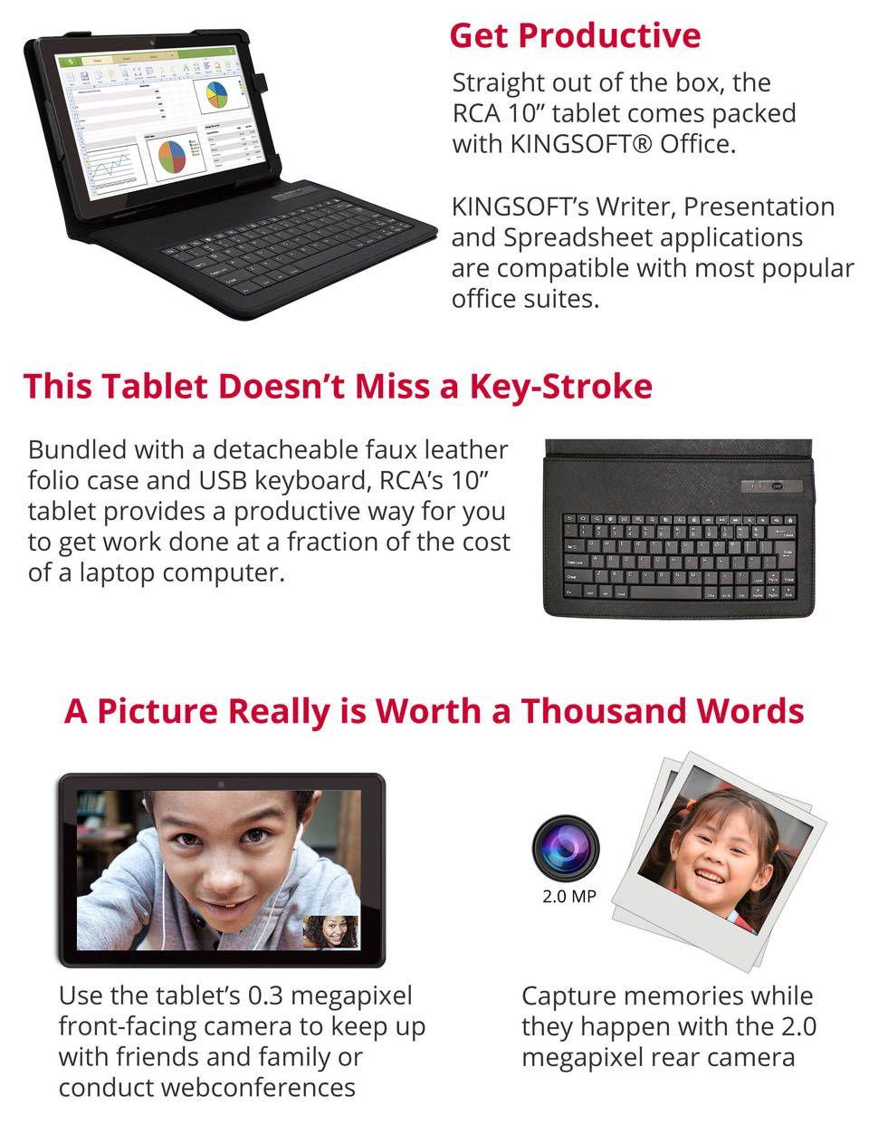 "RCA 10"" tablet w/USB keyboard and folio case For Sheila"