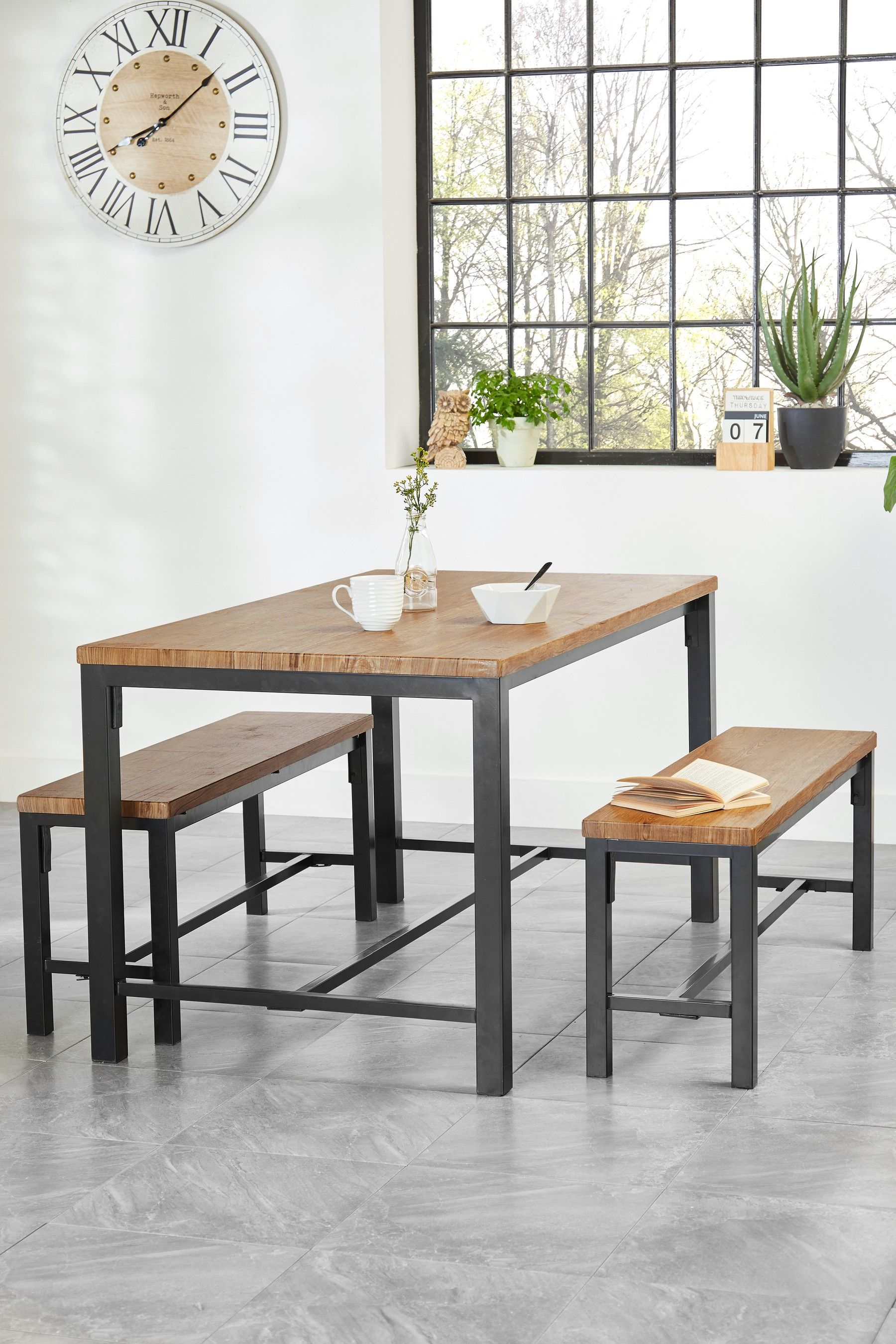Next Ellison Dining Table And Bench Set Brown Dining Table
