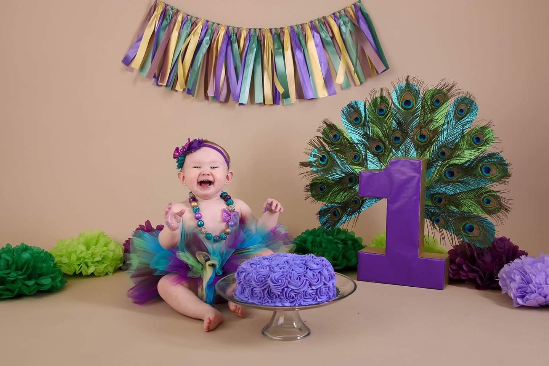 Sneak Peak Of My Daughters 1st Birthday Peacock Theme Cake Smash