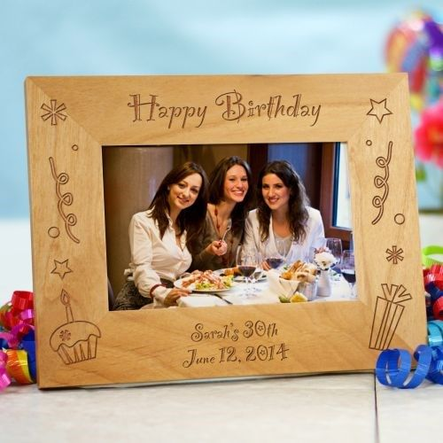 Laser Engraved Happy Birthday Wood Picture Frames Personalized