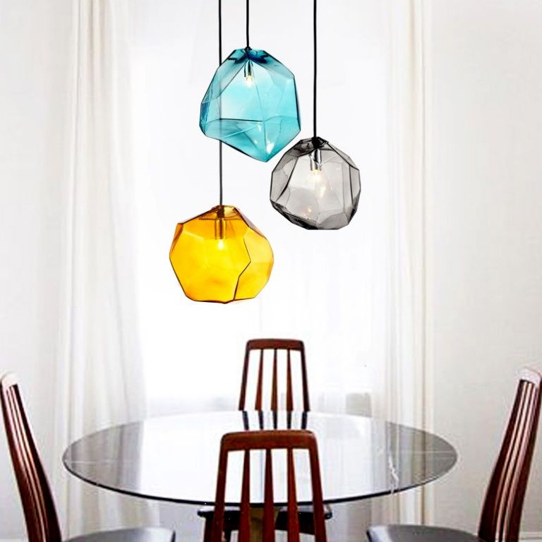 Modern multi colored glass stone shade mini pendant light 1 light kunmai modern coloured glass pendant light in canopy rectangle mozeypictures Image collections
