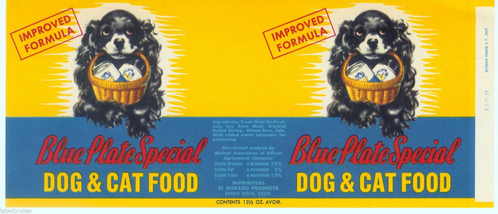 Vintage Can Label Rare Dog Food 1950s Trick Dog Blue Plate Special