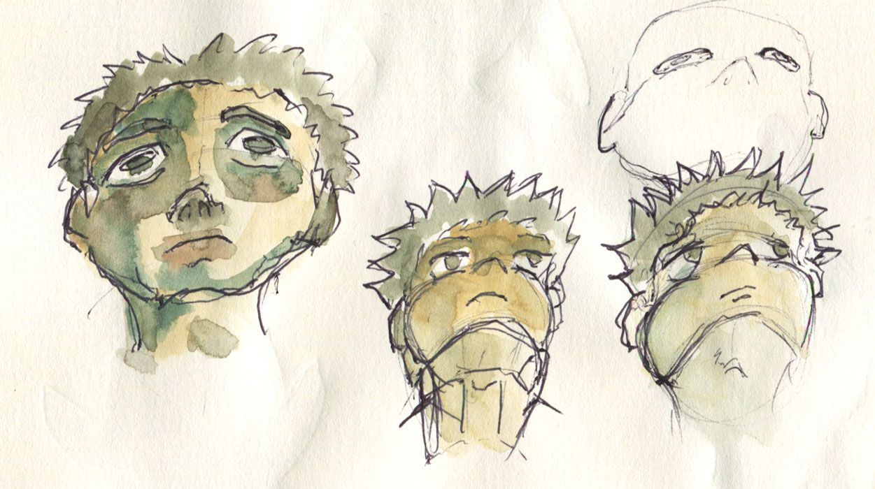 0073 Drawing these….I realized I had some serious trouble with faces looking up.