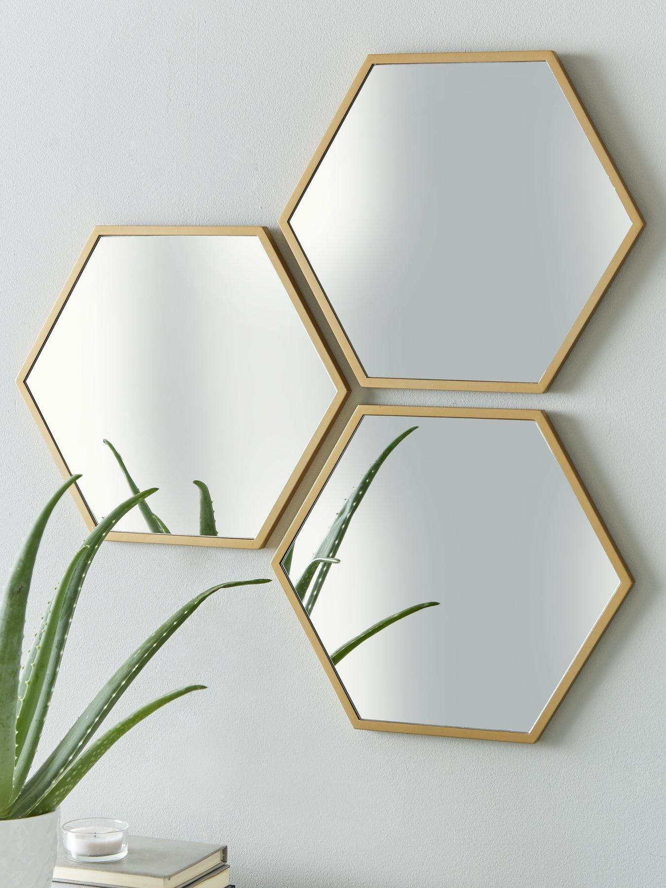 Set of 3 Gold Hexagon Wall Mirrors in 2020 | Gold wall ...