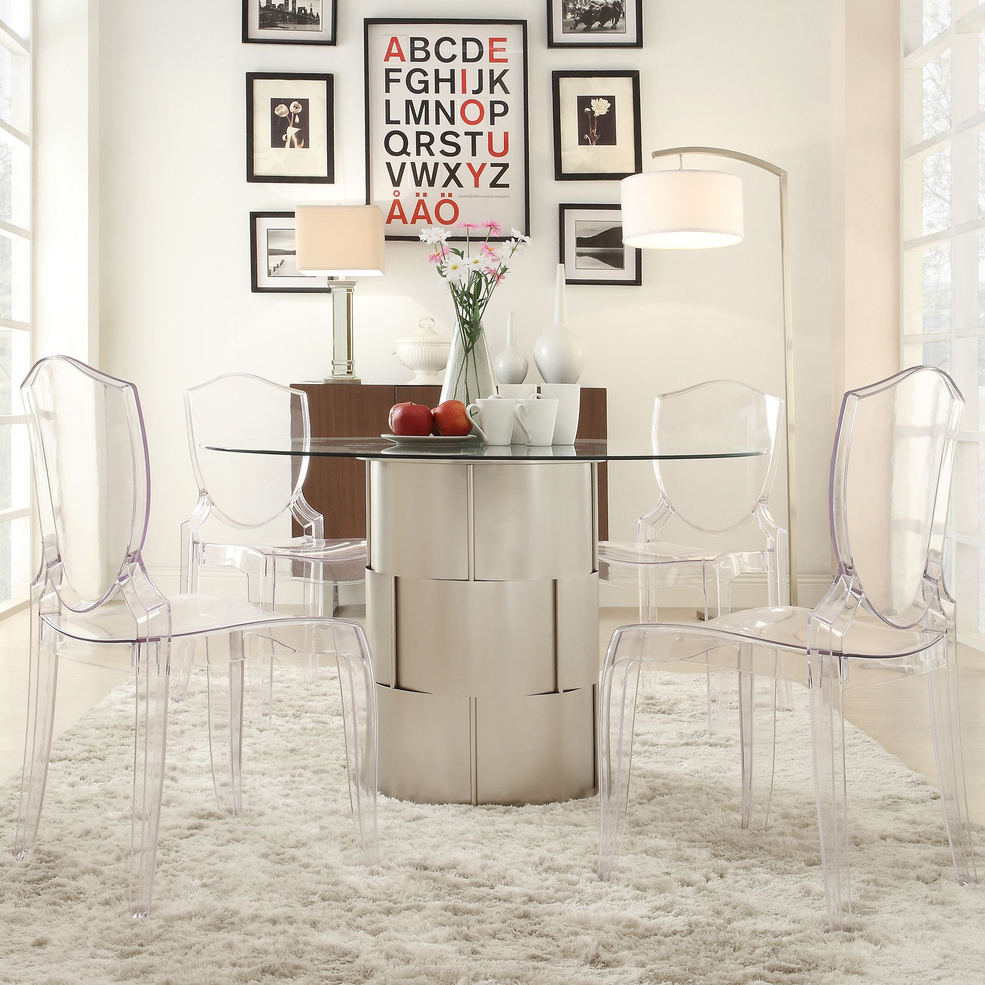 Add a contemporary flair to your dining room with our Kona dining  collection. This barrel. Glass Dining TableDining ...