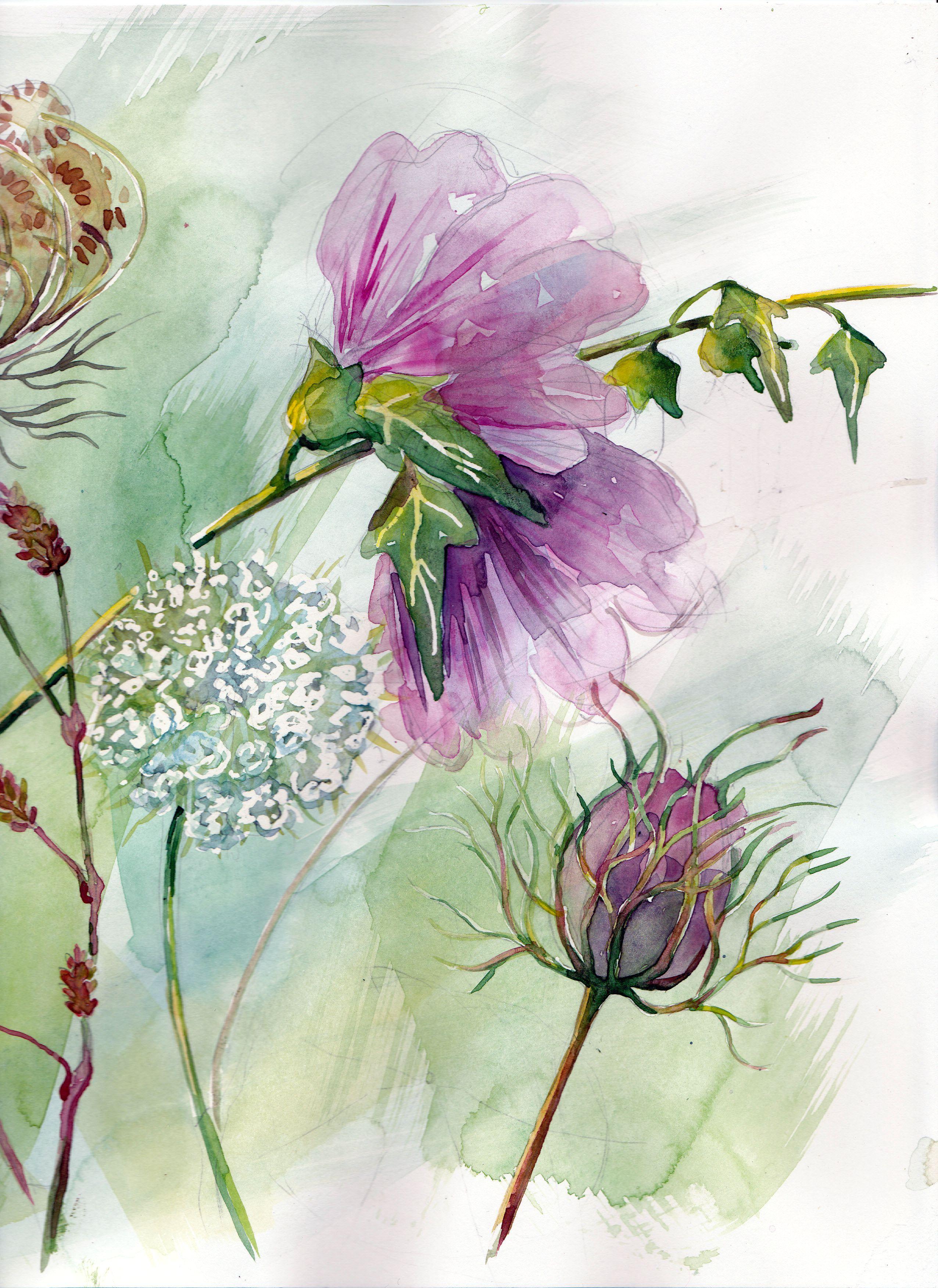 Monique Lemoine Aquarelle Fleurs Peinture Fleurs Dessin Aquarelle