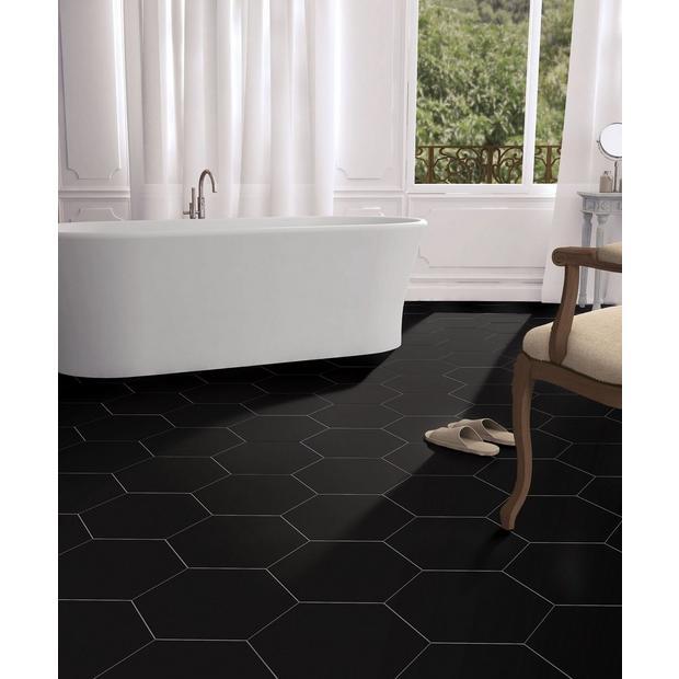 Opal Black Hexagon Porcelain Tile Bathrooms remodel
