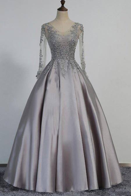 866f291322ccf Long Sleeves Silver Grey Prom Dresses Beaded Lace Appiqued Evening ...