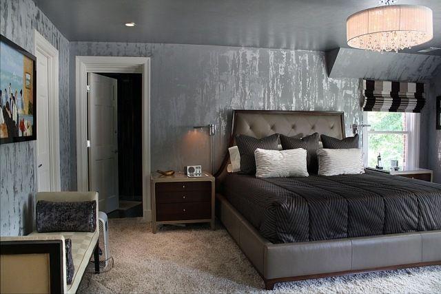 kreative wandgestaltung mit tapeten metallic effekte maskulin anmutende einrichtung deko. Black Bedroom Furniture Sets. Home Design Ideas