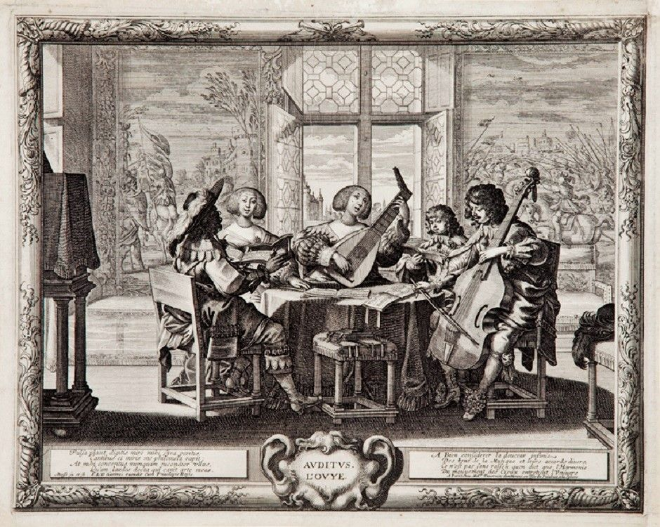 Abraham Bosse (French, 1602–1676). Hearing plate 2 from Cinq sens (The Five Senses) c 1635.