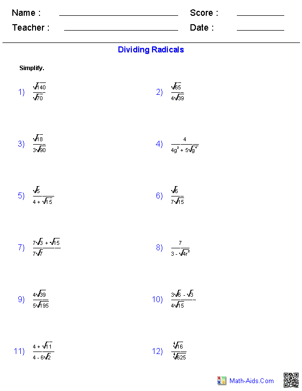 Dividing Radical Expressions Worksheets – Algebra 2 Functions Worksheet