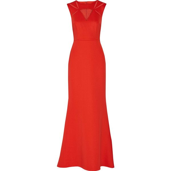 Mikael Aghal Tulle-paneled stretch-crepe gown (€325) ❤ liked on Polyvore featuring red and mikael aghal