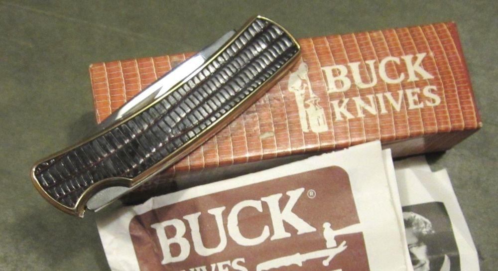 Vintage Buck 529 Usa 1980s Buckskin Lizard Gent Lock Back