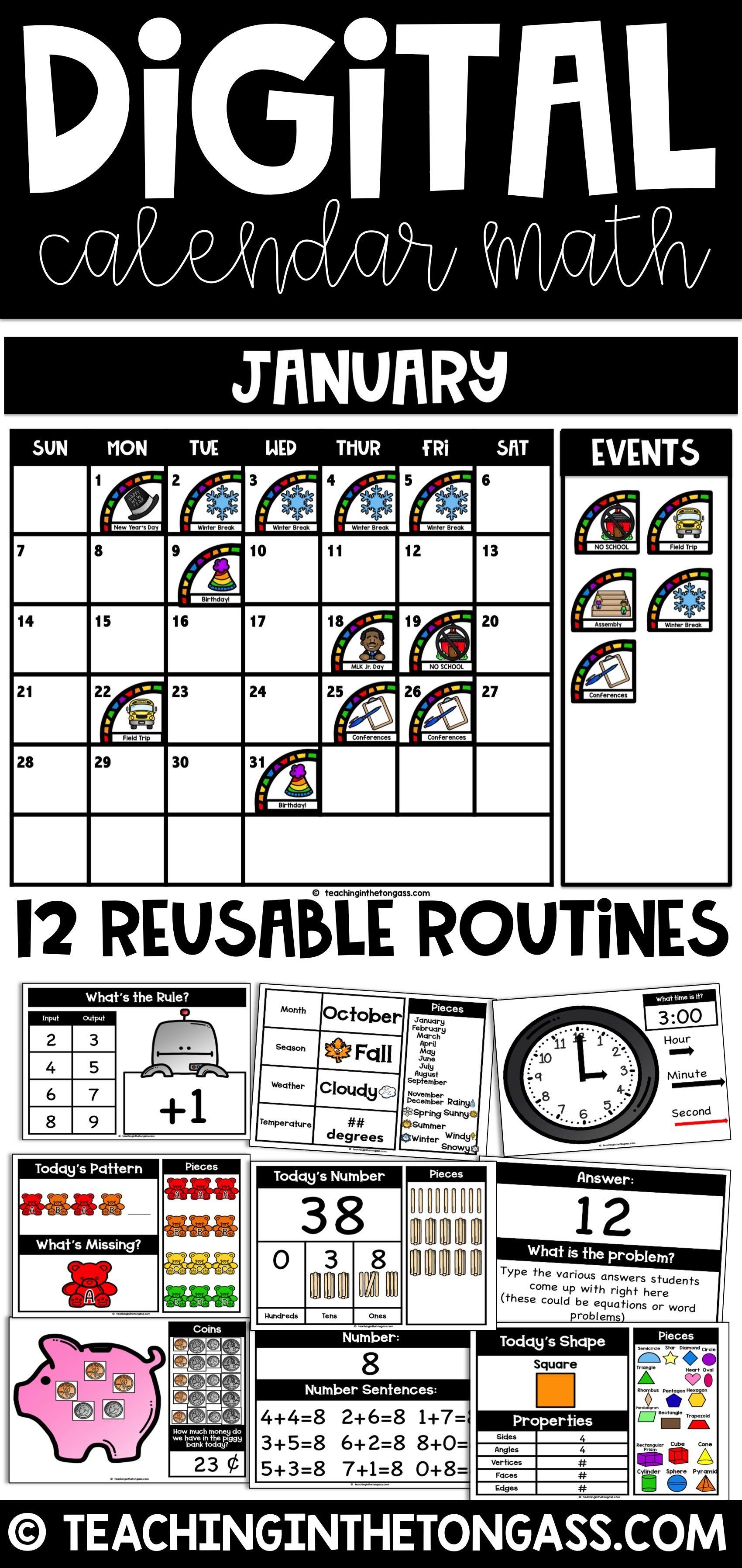 Digital Calendar Math Kit Google Classroom Math Distance