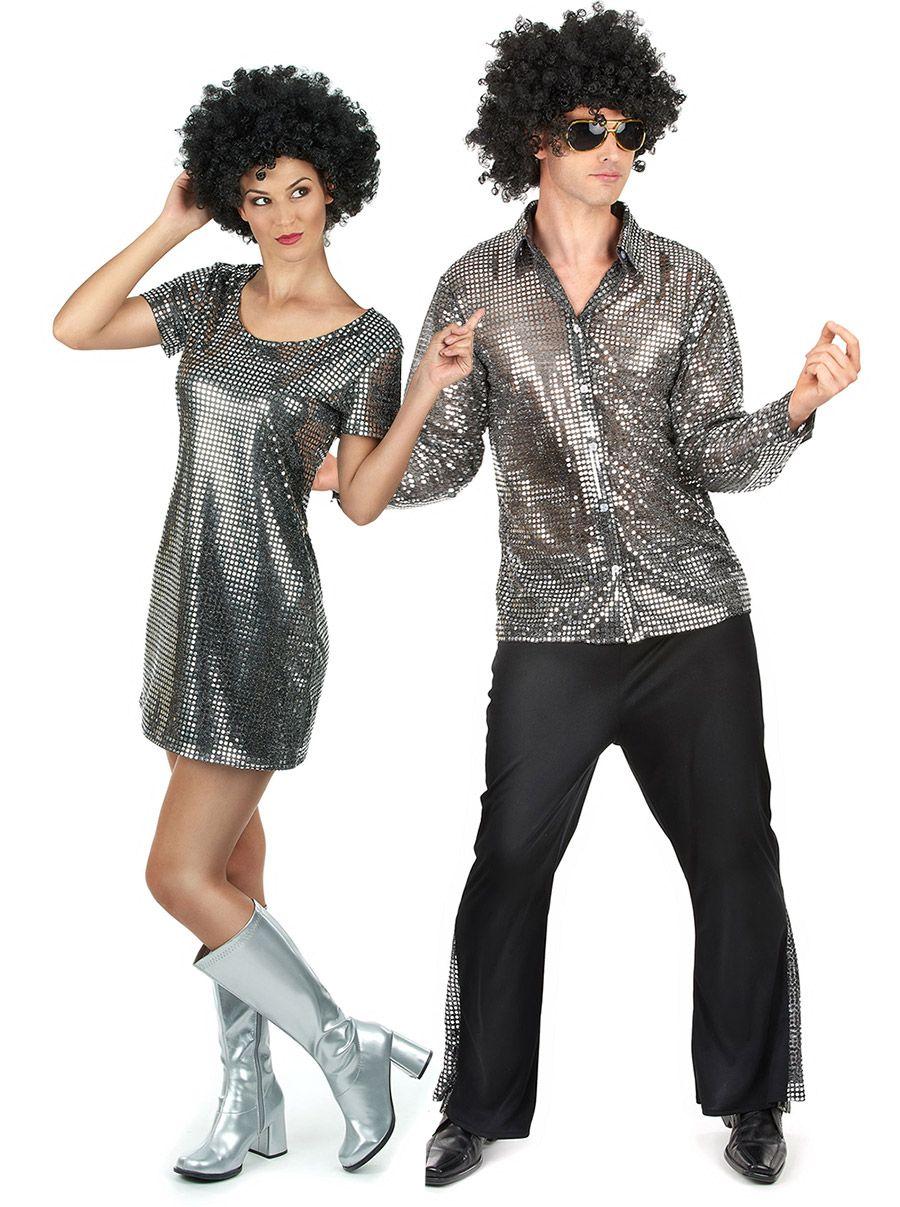 BLACK SEQUINED ADULT 1970S DISCO SHIRT FANCY DRESS HALLOWEEN COSTUME