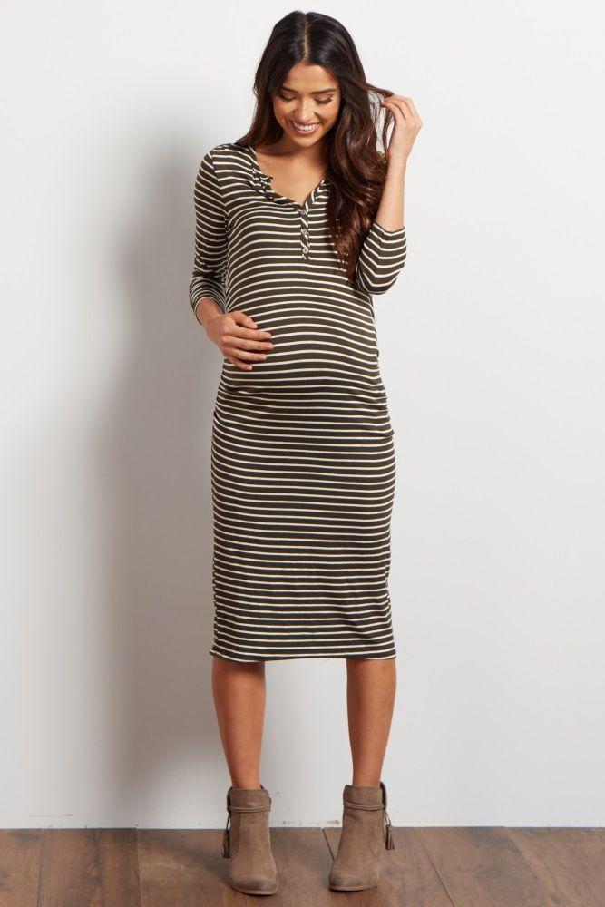 ae96660df6 Olive Green Striped Button Up Midi Maternity Dress