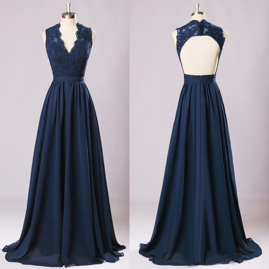 New long lace top bridesmaid dresses navy blue chiffon bridesmaid