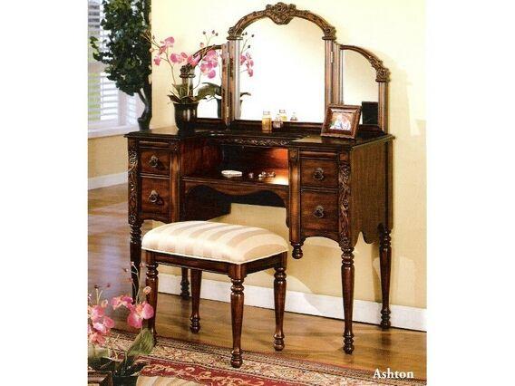 Cherry Brown Finish Wood Make Up Bedroom Vanity Set This