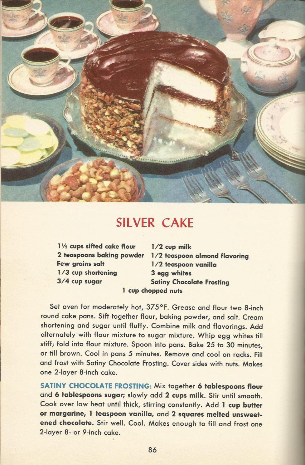 Vintage Recipes 1950s Cakes Vintage Recipes Retro Recipes Recipes