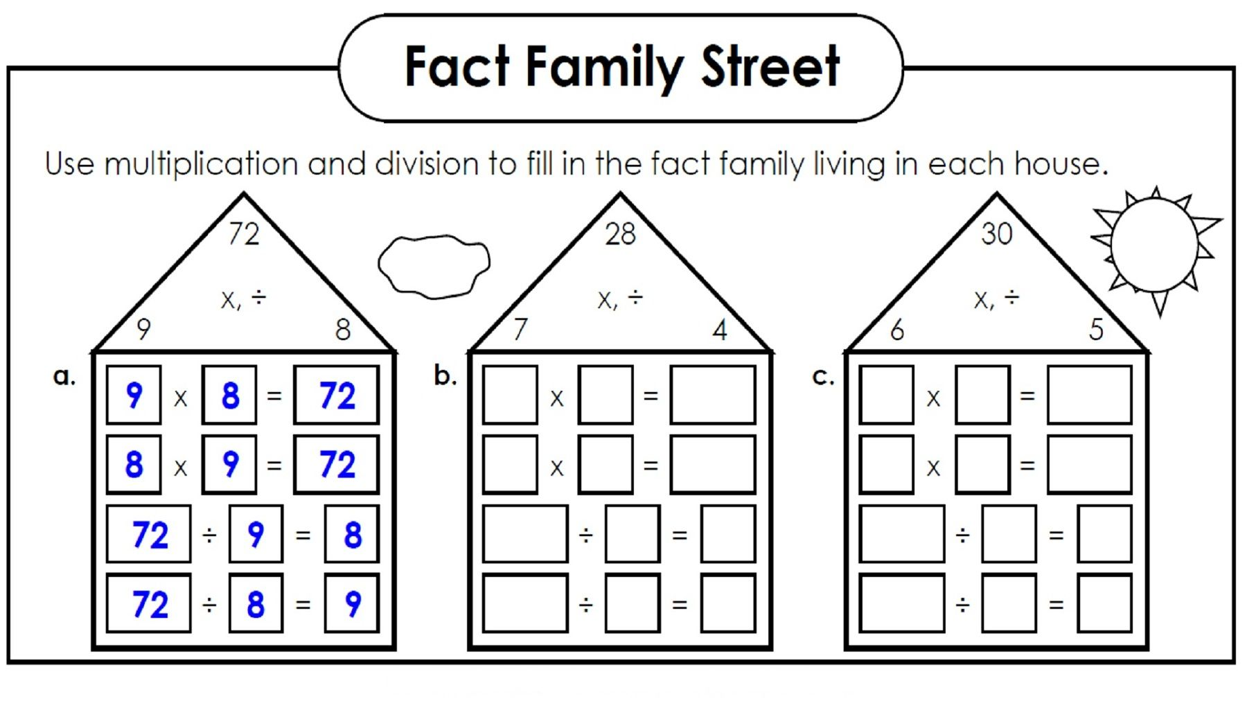 Number Family Worksheets For Kids In